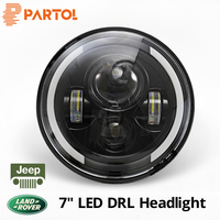 Partol 7 inch 60W LED Headlight Car Driving Light Hi/Lo DRL 6500K 12V For Jeep CJ Wrangler Land Rover Truck 4x4 off road vehicle