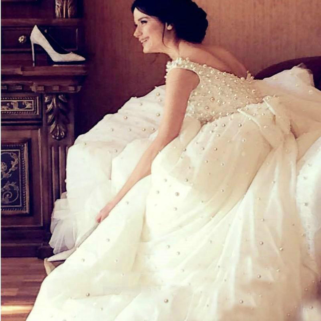 Luxury Princess Wedding Dresses White Ivory Tulle Wedding Dresses 2019 with Pearls Bridal Dress Marriage Customer Made Size