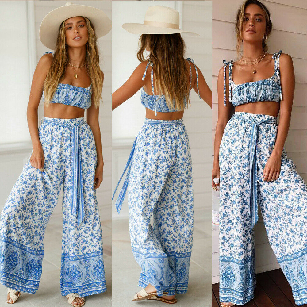 Women's Summer Suit Bohemia Two Pieces Lady Girl Set Sexy Backless Crop Top And Pants Sets Ladies Boho Floral Suits