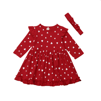 Toddler Baby Girls Christmas Dress Long Sleeve Princess Party Wedding Kids Dresses For Girls Infant Dress+Headbands 2Pcs Clothes new lace girls dress retro embroidery long sleeve christmas clothes girls party dress teenagers princess dress 3 13 years ca341