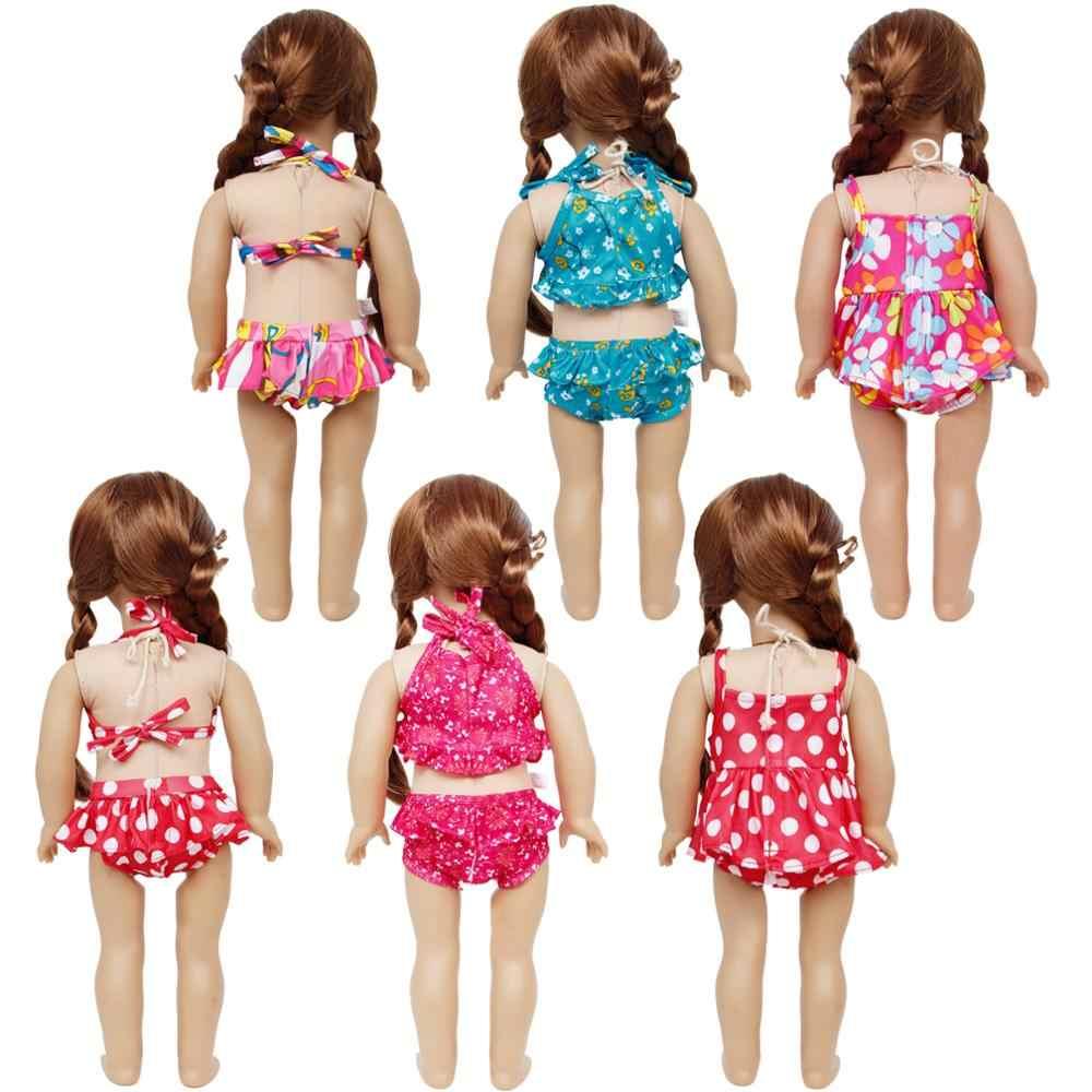 1 zestaw śliczne plaża akcesoria dla lalek stroje kąpielowe stroje kąpielowe z kapelusza różowy odzież dla amerykańska dziewczyna lalki 18 w. Zabawka dla dzieci