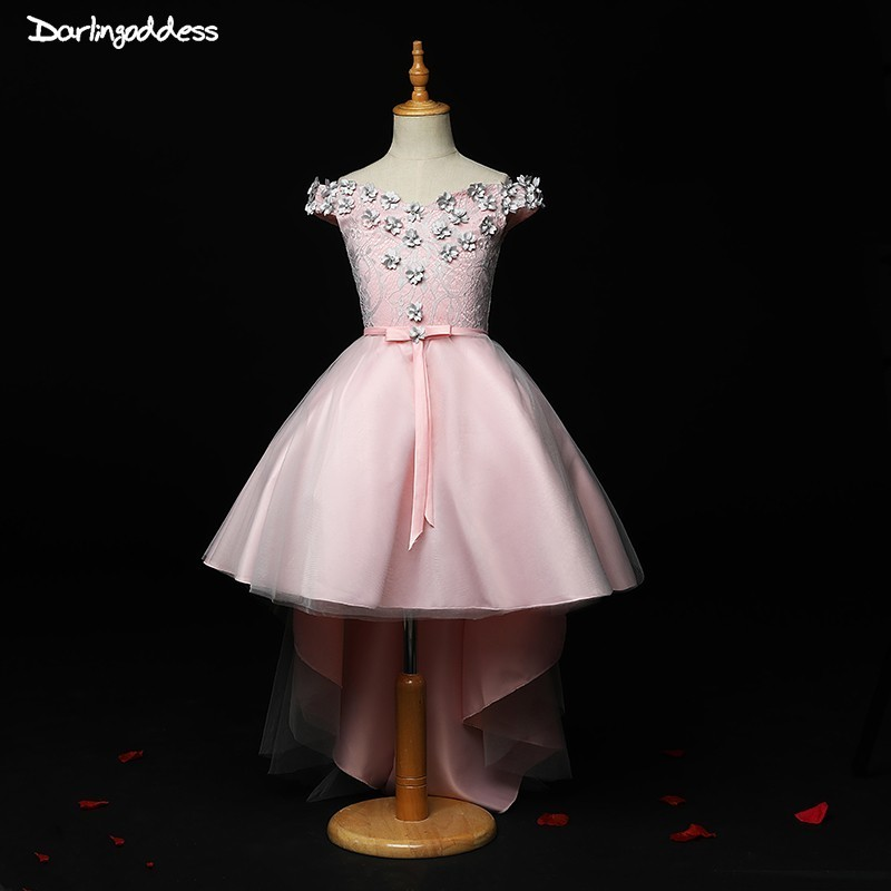 2019 High Low   Flower     Girl     Dresses   Pink Satin Cap Sleeve Pageant   Dress     Girls   Ball Gowns For Weddings Kids Birthday Party   Dresses