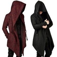 Mens Winter Hoodies Slim Fit Sweatshirt Outwear Warm Coat Long Jacket