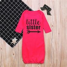 Для детей от 1 до 2 лет новорожденных для маленьких девочек боди с буквами с длинным ночную рубашку пижамы платье хлопковая одежда красная роза халаты