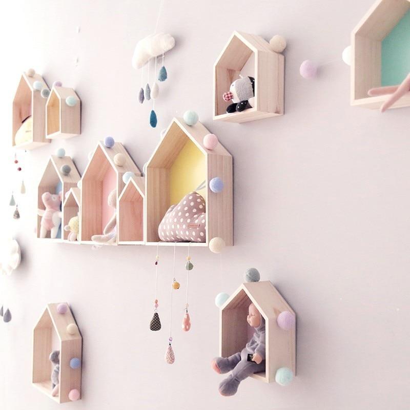 Nordic Style Pine Wood Wall Shelves