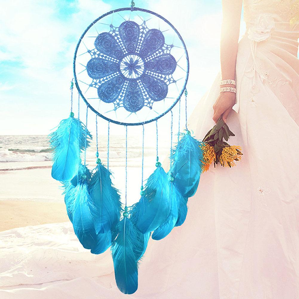 White Goose Feathers Dream Catcher Wedding Decorations Valentine Day Gifts Wind Chimes Cotton Rope Net