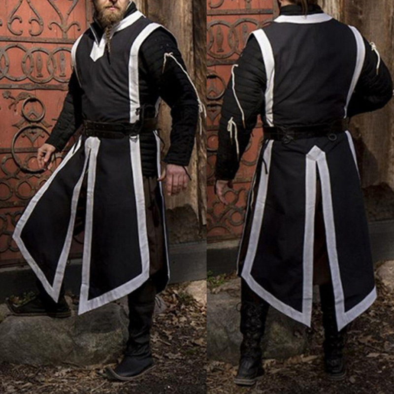 Men Long Shirts Cosplay Medieval Renaissance Costume Knight Shirt Men Sleeveless Vest Tops Men Clothes Stage Costumes 2019 Рубашка