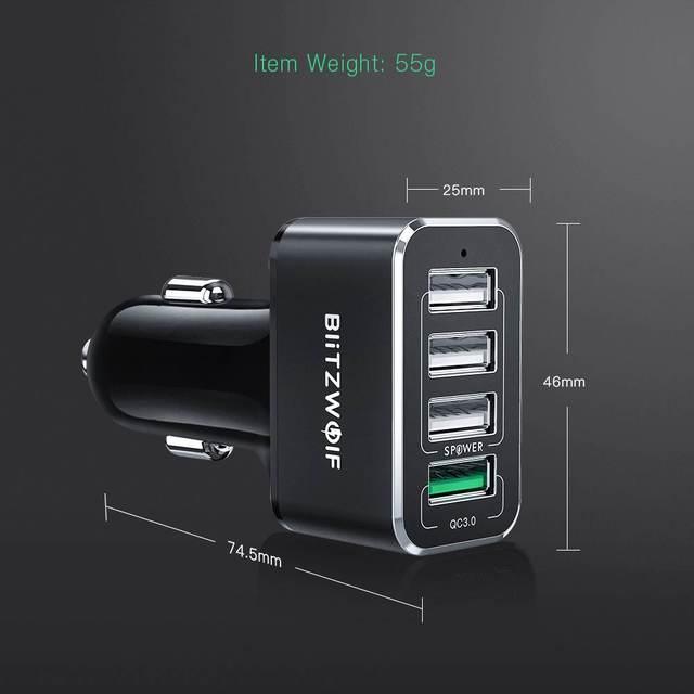 BlitzWolf chargeur de voiture USB 4 Ports USB 50W QC3.0 charge rapide pour téléphone portable TDC 12V-24V pour iPhone X XR Xs pour Xiaomi Mi8