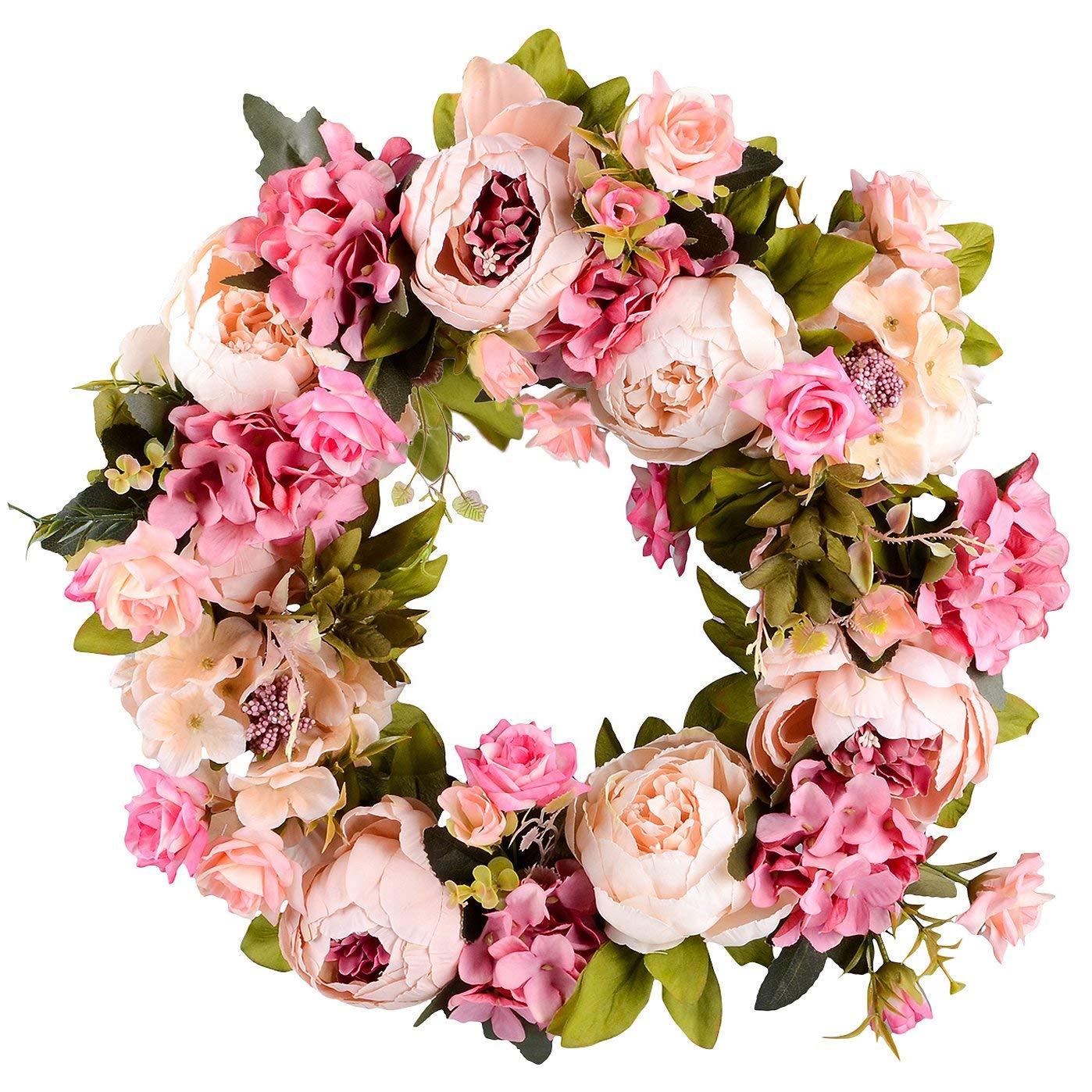 Artificial Flower Wreath Peony Wreath - 16inch Door Spring Wreath Round Wreath For The Front Door, Wedding, Home