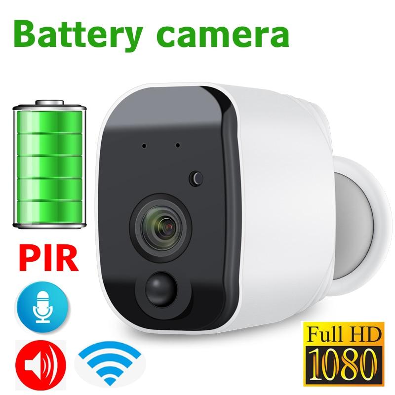 JIENUO Bateria Câmera Wi-fi 1080 p Full HD Alimentado Recarregável Ao Ar Livre Segurança Interior IP Cam 110 de Largura Ângulo de Visão sem fio 2-Way