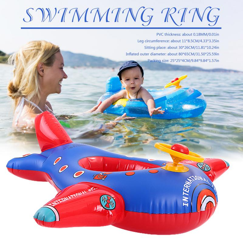 Baby Swimming Ring Cartoon Aircraft Inflatable Thickening With Direction Seat Boat Float Motorboat Harmless PVC Plastic Car Boat