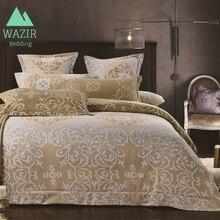 WAZIR Juego de cama de lujo de estilo palaciego color beige, funda de edredón, funda de almohada, edredón, ropa de cama, ropa de cama