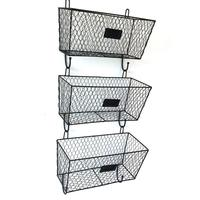 AUGKUN 3PC Three Layer Wire Mesh Trapezoidal Storage Rack Set Metal Rack Shelf Vintage Triple Organizer Black For Bathroom Home