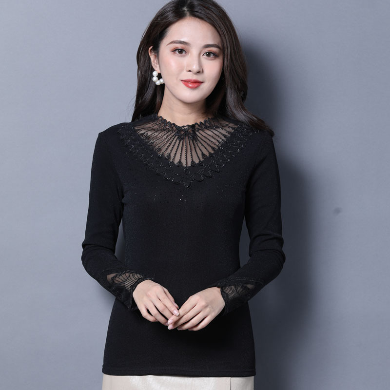 1pcs Ladies Plus size blouses tops 2019 Winter Lace mesh Splicing Hollow thickening Black Primer shirt womens Skinny Sexy shirts in Blouses amp Shirts from Women 39 s Clothing