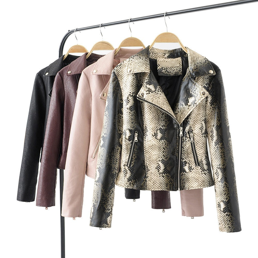 2019 New Turn-down Collar Printing Pu   Leather   Coat Women Fashion Long Sleeve Short Coat Solid Casual Outerwear