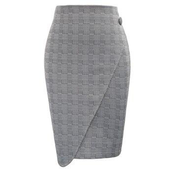 33f61d923 GK bodycon falda Mujer Retro Vintage Gingham Wrap frente espalda dividida  faldas señoras oficina trabajo negocios fiesta lápiz falda