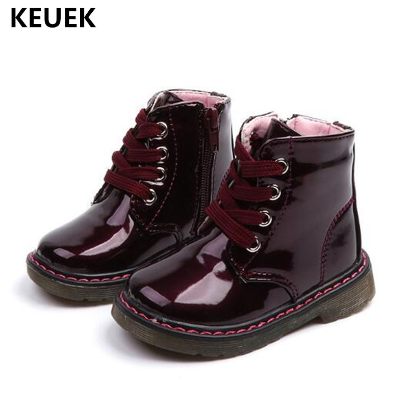 New Children Shoes Baby Girls Boots Boys Student PU Leather Casual Lace-Up Ankle Boots Kids Motorcycle Boots 03