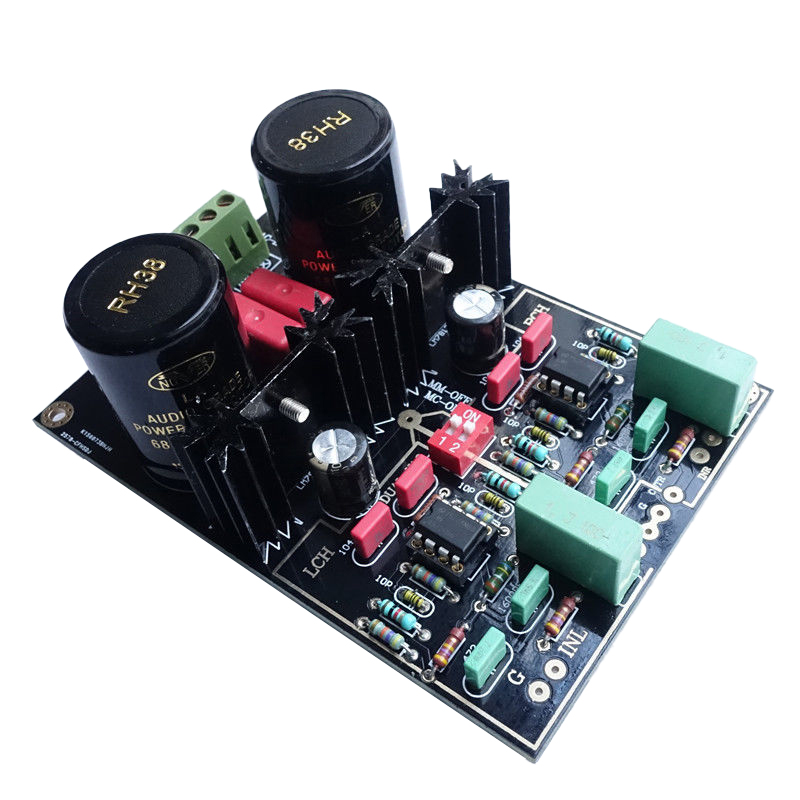 1Pcs Audio Dual Circuit MM/MC Phono Stage HIFI Amp Finished Amplifier Board|Operational Amplifier Chips| |  - title=