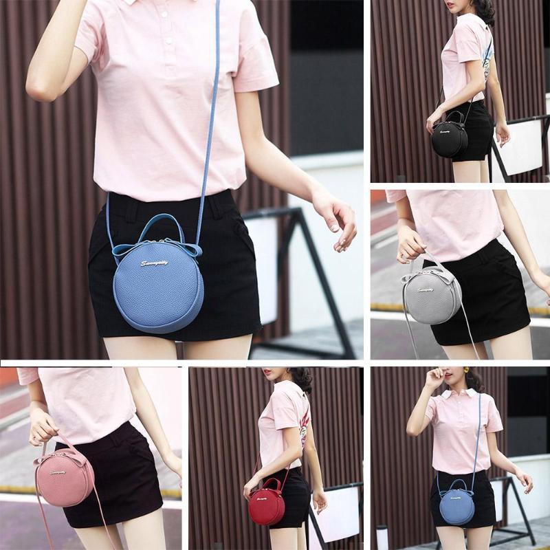 Slung Mobile Phone Bag 2019 New Summer Fashion PU Small Round Bag for Female Personality Shoulder Bag Litchi Rhyme Bag - 3
