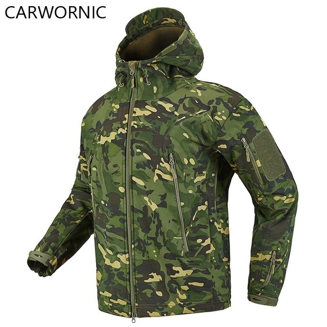 CARWORNIC Soft Shell Tactical Military Jacket Men Dropshiping Fleece Waterproof Army Multicam Camouflage Shark Skin Windbreakers