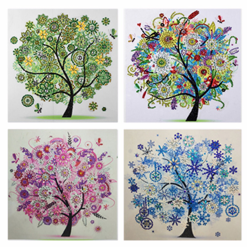 Hot 4Pcs 5D Diamond Painting Special Shaped Embroidery Four Seasons Tree Drill Diy Paintings