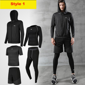 Image 2 - 5 Pieces Men Sportswear Hoodie O neck Sports Suit Elastic Tracksuit Black Gray Sport Clothing Jogging Fitness Gym Running Sets
