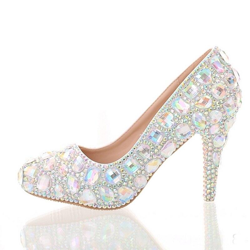 Chaussures Pompes Heels Crystal 10cm ab Cristal Super Performance Mariage 12cm 8cm Haute Bout Strass Coloré Rond Cérémonie De ab Talon Heel Heel Grauation Mariée Ab 14cm pZxqBtntaw