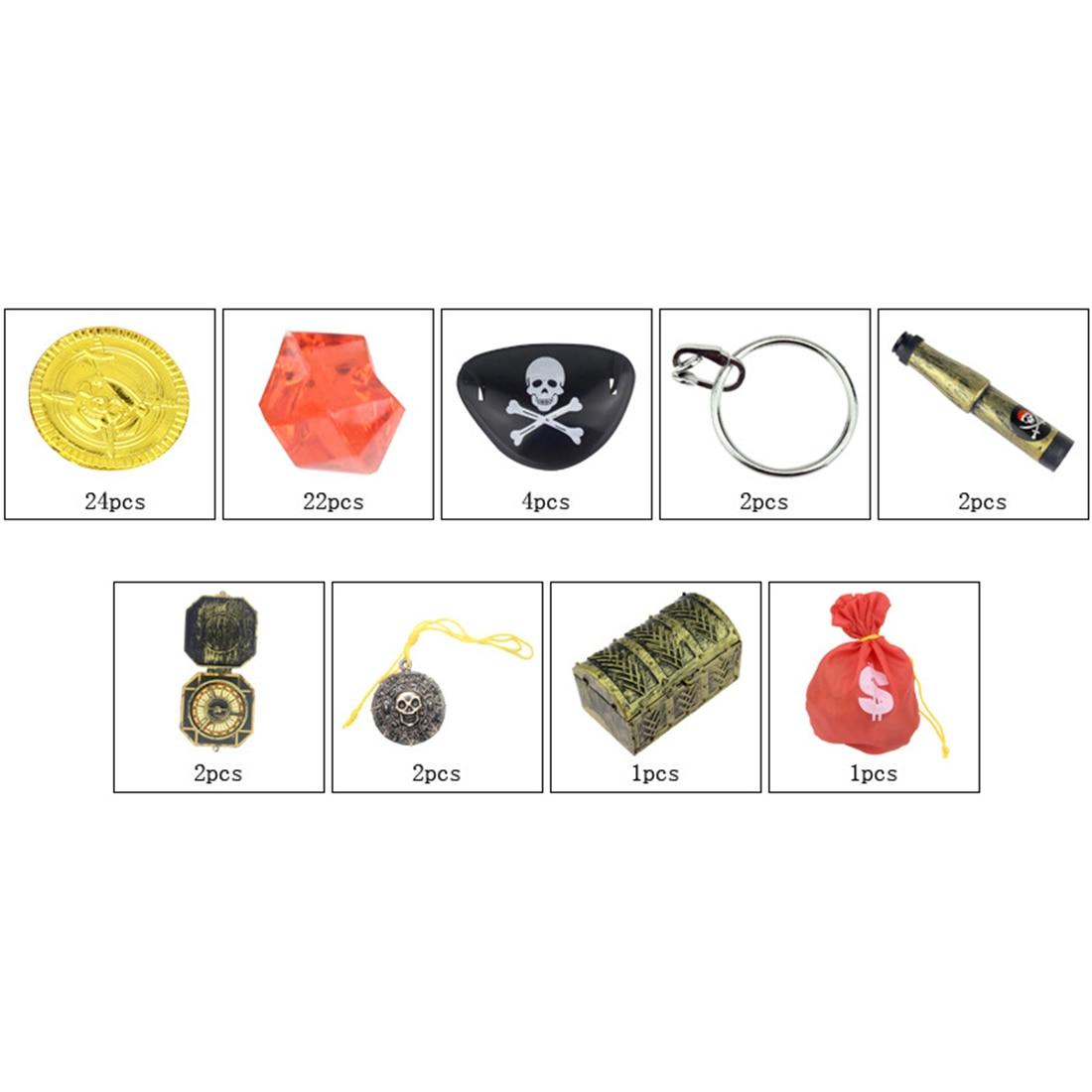 60 шт. пиратский костюм набор реквизитов Пиратская повязка на глаз покрытие для век золотые монеты пиратские драгоценные камни шкатулка для драгоценностей Детские вечерние принадлежности