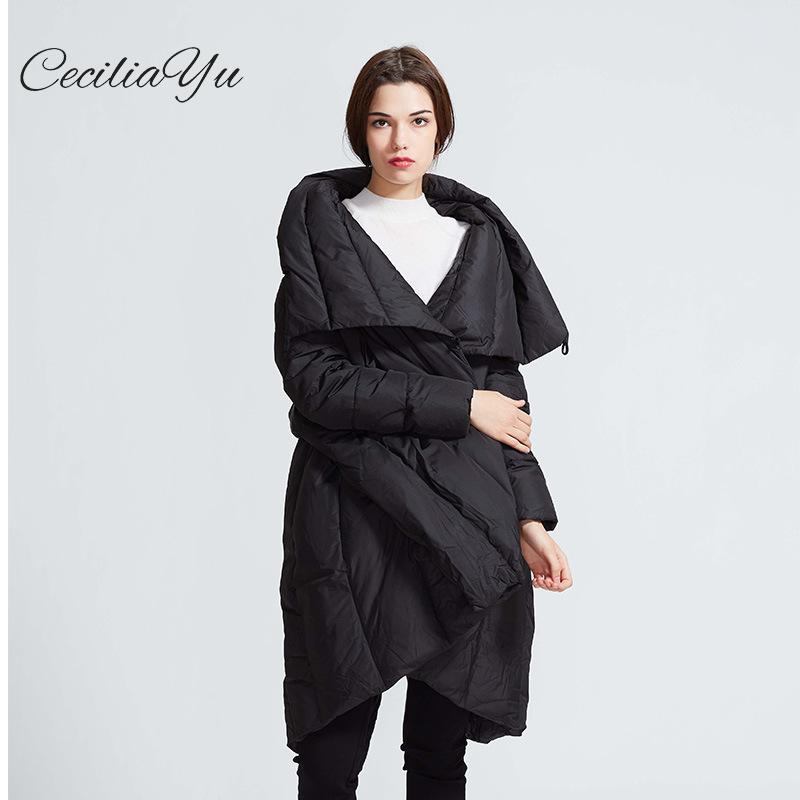 Ceciliayu 2018 Winter New Style Original Literature And Art Big Code   Down     Coat   Pure Color High Collar Casual Women's   Down     Coat