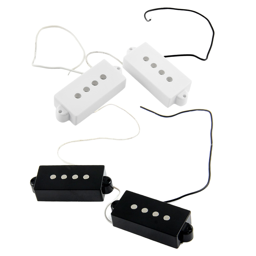 4 Pieces Plastic + Metal Black White Magnet Open Pickup Set for 4-string PB Bass Guitar Replacement Parts