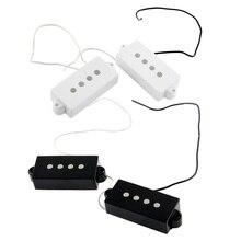 4 Pieces Plastic + Metal Black White Magnet Open Pickup Set for 4-string PB Bass Guitar Replacement Parts недорго, оригинальная цена
