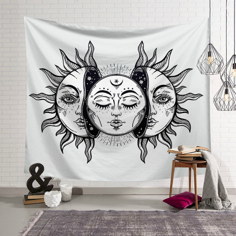 Image 2 - India Mandala Tapestry Wall Hanging Hippie Psychedelic Tapestry  Nature Sun Moon Map Witchcraft Tarot Wall Boho Decor Bedroom  RugTapestry