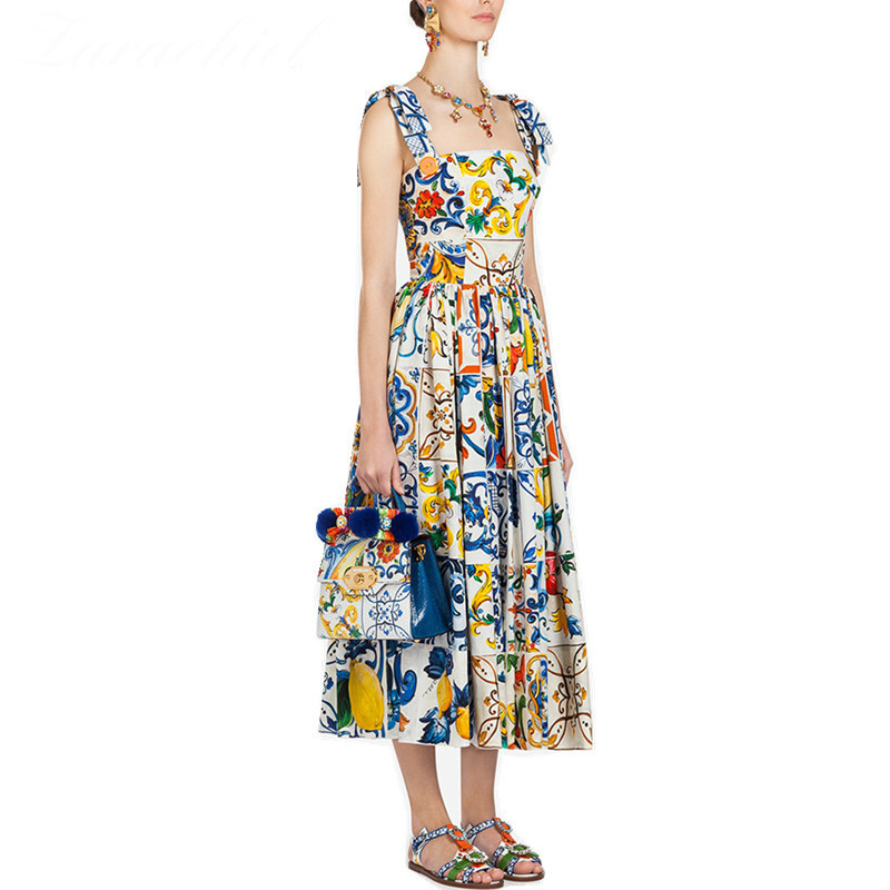 Fashion Runway Summer Dress 2019 Women's Red Rose Vacation Vestidos Long Bow Spaghetti Strap Blue White Porcelain Floral Dress image