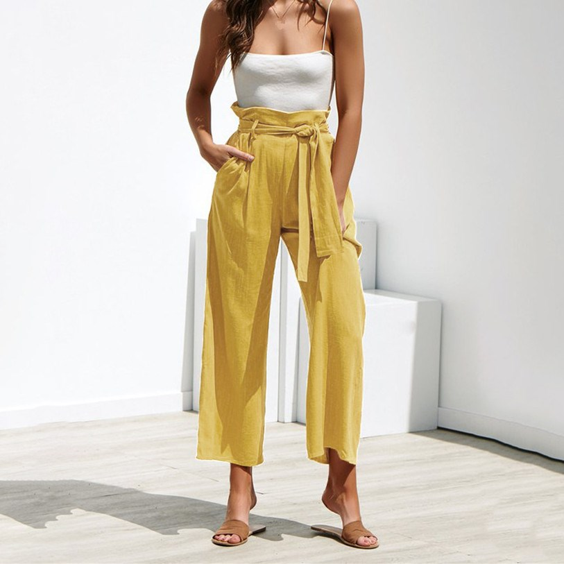 2019 Summer Women Cotton Linen   Pants   Pleated Casual   Wide     Legs     Pants   Loose Sashes Bandage Trousers