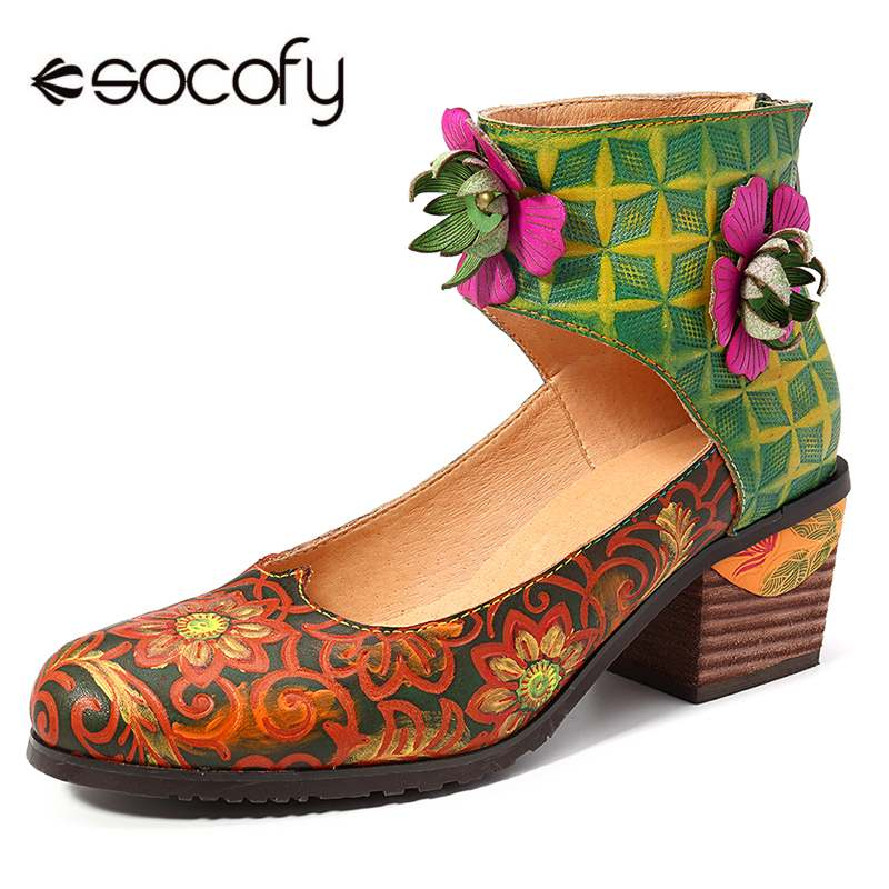 SOCOFY Retro Hand Painted Flowers Pattern Genuine Leather Splicing Floral Zipper Pumps Bohemian Ladies For Women Retro Botas NewSOCOFY Retro Hand Painted Flowers Pattern Genuine Leather Splicing Floral Zipper Pumps Bohemian Ladies For Women Retro Botas New