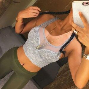 Летний женский сетчатый спортивный бюстгальтер в стиле пэчворк, майки, топы, облегающая тонкая спортивная одежда для спортзала, бюстье, жилет, укороченные топы, Бралетт