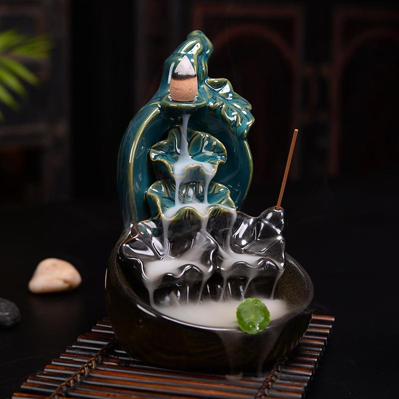 Backflow Incense Burner Smoke Waterfall Incense Holder Ceramic Aromatherapy Furnace Mountain River Handicraft Incense Censer in Incense Incense Burners from Home Garden