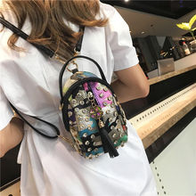 Women Small Backpacks for Teenager Girls School Bag Fashion Rivet Luxur