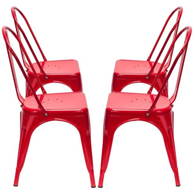 4PCS  Red Iron Backrest Chairs  4