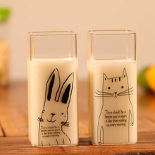 Heat-resisting Cute Cat Glass Coffee Mugs Creative Heat Resistant Kitty Milk Tea Cups Home Office Drinkwares Square Cup