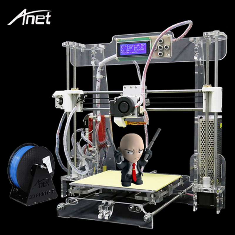 Anet A8 La Maggior Parte Dei Popolari Stampante Stampante 3d di Alta Precisione Aggiornato Reprap Prusa i3 FAI DA TE 3D Stampante Kit di Alluminio Materiale di Riscaldamento