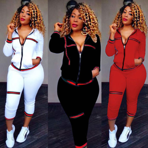 UK Womens 2 PCS Cropped Tracksuits Set Ladie Hoodie Striped Activewear Size 6-14