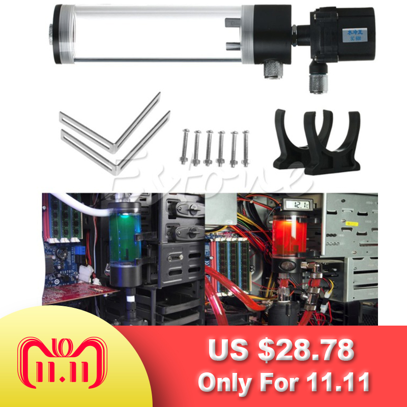 310mm Cylinder Water Tank +G1/4 Thread 19W Pump Computer Water Cooling Radiator New Computer Water Cooling Cooler For CPU barrow g1 4 white black silver gold board cross water inlet water fill in port for computer water cooling use tcdzs v1
