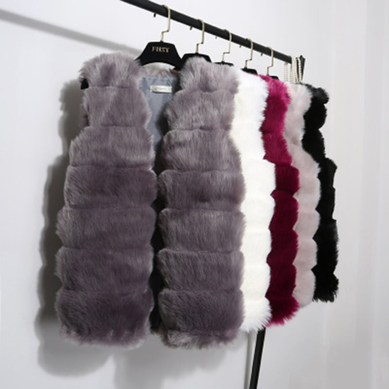 Hot Jappkbh Faux Fur Winter Coat Women Casual Warm Slim Solid Fur Vest Ladies Vintage Elegant Sleeveless Fake Fur Coat Jacket