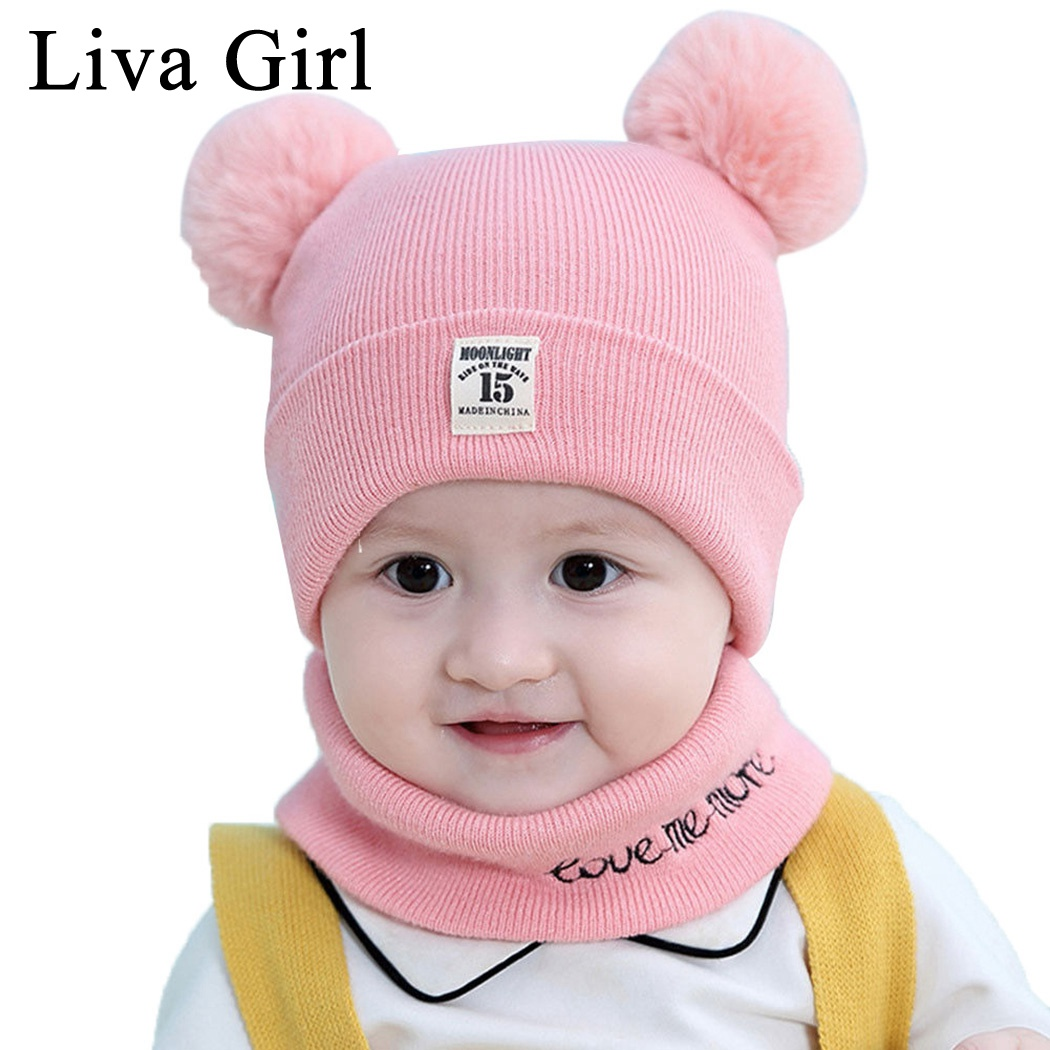 Liva Girl Brand 0-12 Months Children Hat Scarf Set Autumn Winter Toddler Photography Accessories Pompom Knitted Caps Scarf Ring