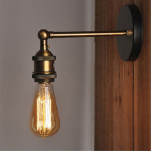American Vintage Iron LED Wall Light Edison Light Bulb Loft Study Foyer Dining Room Retro Bedside Led Indoor Wall Lamp Luminaire vintage iron american wall lamp modern edison wall light bedroom hallway sconce retro indoor wall lamp reading bedside led lamp
