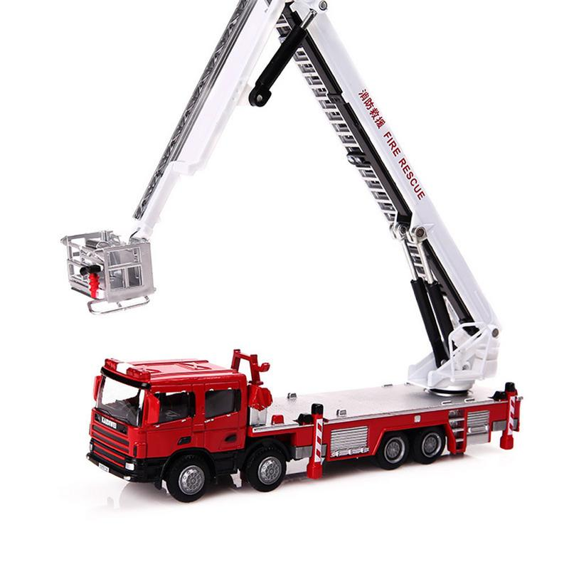 100% Quality Kdw 17cm Mini Simulation Fire Truck 1:50 Rotatable Ladder Fire Truck Pretend Toy Cool Toy Boy Gift To Clear Out Annoyance And Quench Thirst