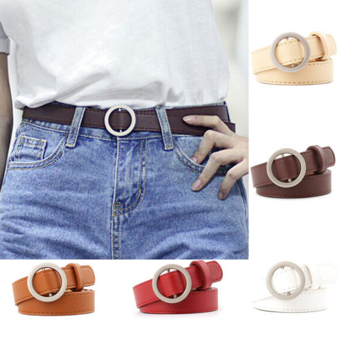 Good Quality Fashion Women Belts Leather Metal Pin Round Buckle Waist Belt Waistband Pip