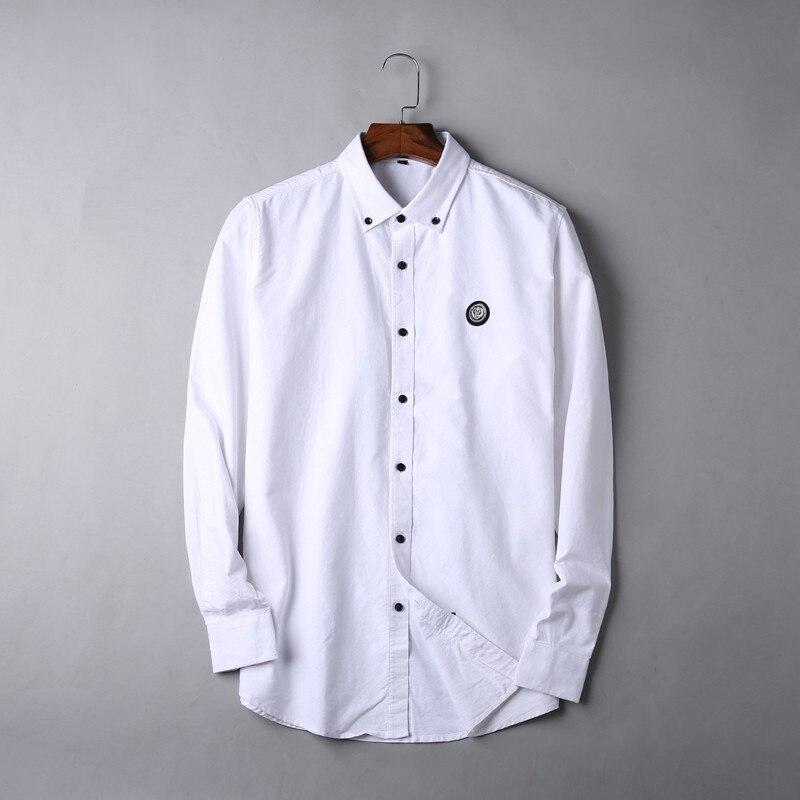 2019 nouveau 8XL 7XL 6XL 5XL grande taille haute qualité hommes chemise à manches longues Twill solide formelle chemise d'affaires marque homme chemises habillées - 5