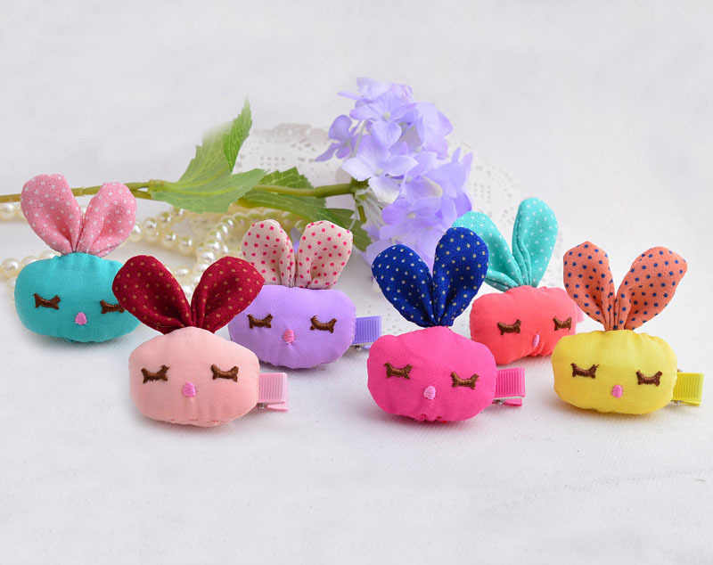 Cute Cotton Filling Fabrics Rabbit Hairpins Squint Bunny Head Design Hair Bands For Girls Hand Making Hair Clips For Baby Gift